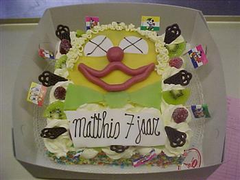 marsepeine clownskop taart